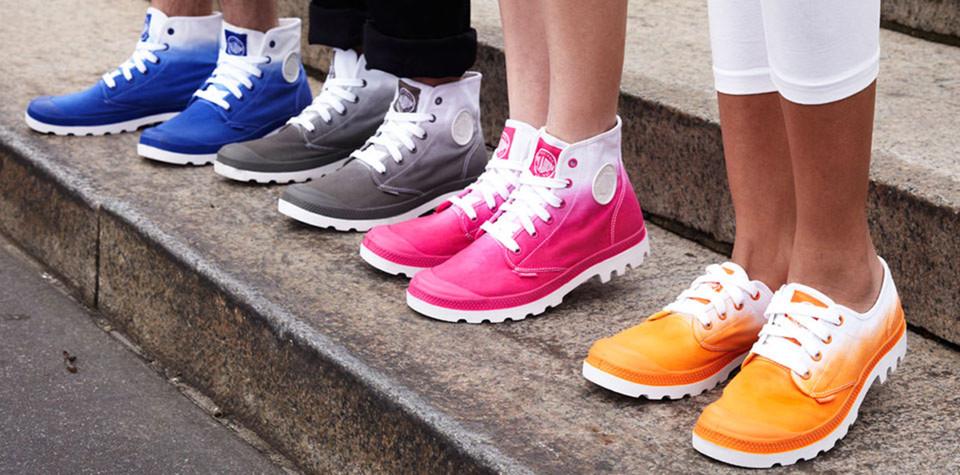 palladium kengät naisella pampa hi palladium sininen oranssit ja pinkit  kengät fd66d5be68